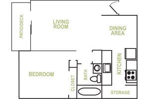 Allen Creek 1 Bedroom Floorplan