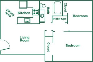 Meadowlark 2 bed floor plan
