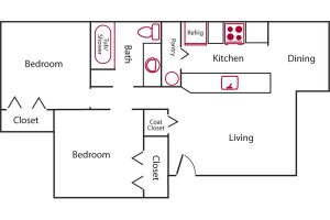 rose park senior 2 bed floor plan