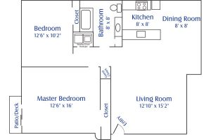 south pointe 2 bed 1 floor plan