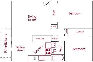 Woodmont 2 bedroom 1 bath